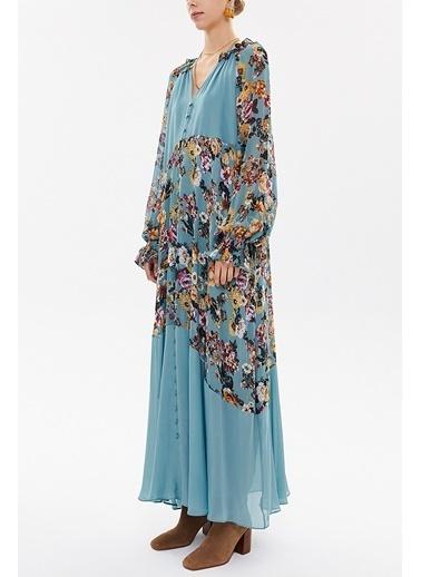 Societa Fırfrlı Uzun Elbise 93315 Mavi